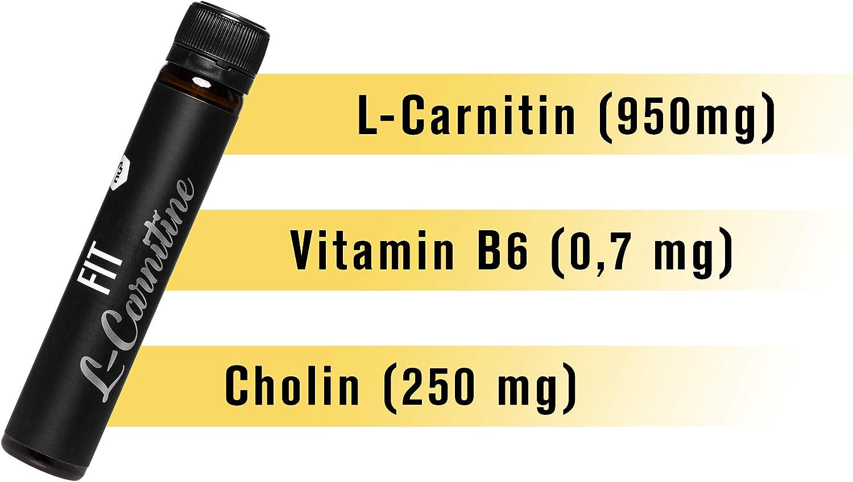 nu3 Fit L-Carnitina líquida - L carnitina pura de absorción rápida - 950 mg Carnipure por shot - Suplemento vegano quemagrasas - 20 ampollas de fácil ...
