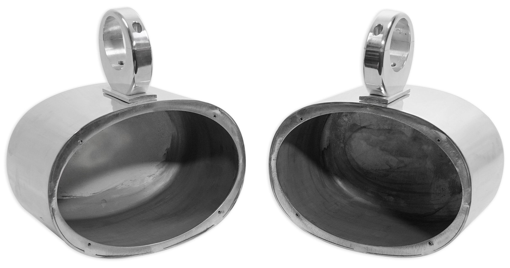 Pair Rockville MAC69S 6x9 Aluminum Wakeboard Tower Speaker Enclosures, Polished Silver