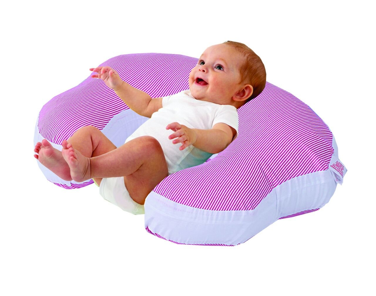 Love2Sleep BABY FEEDING/ NURSING PILLOW HOLLOWFIBRE FILLED FOR COMPLETE SUPPORT: PINK STRIPE