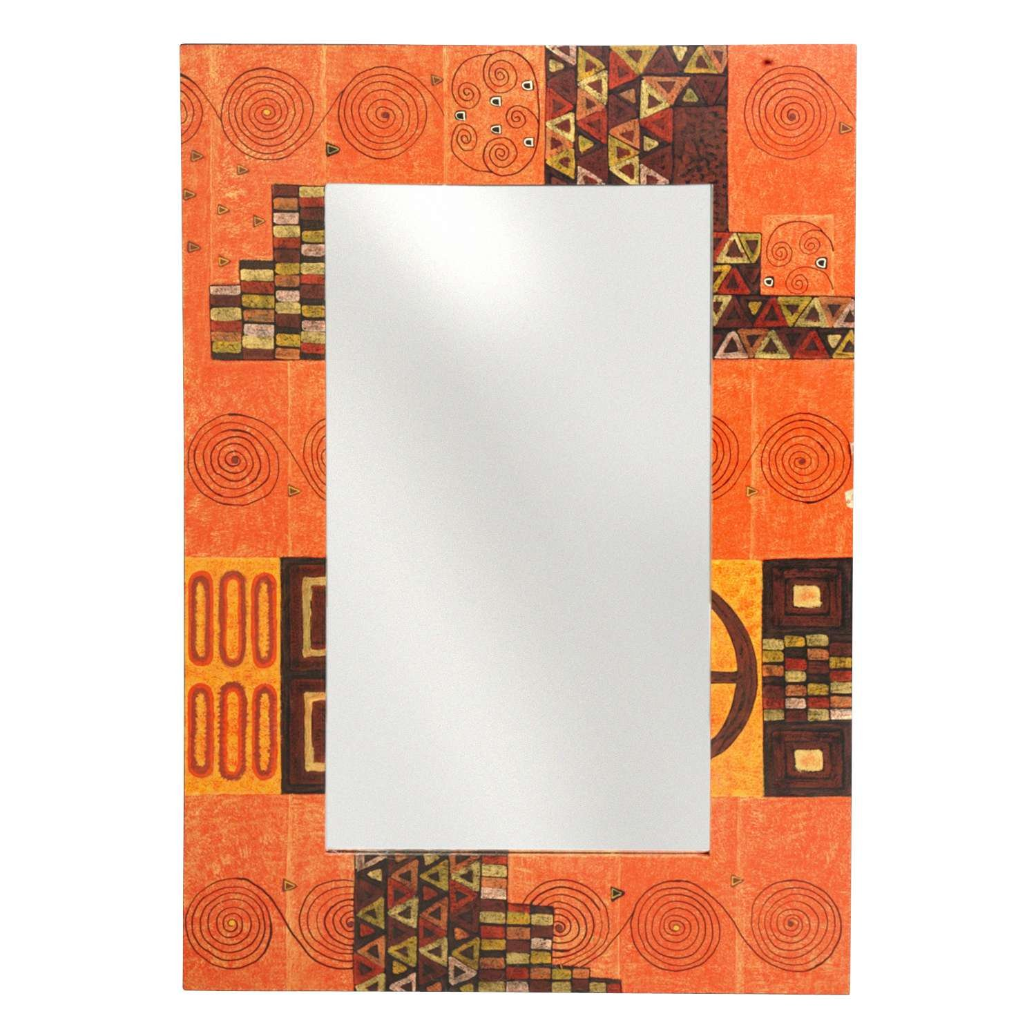 Hand Painted Geometric Design Mirror 30''x21'' 'Lumina Mirror' by Ten Thousand Villages