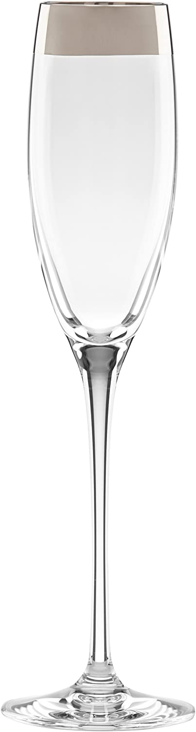 Lenox Timeless Wide Platinum Flute Champagne Glasses, Clear