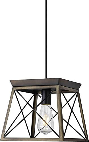 ISRAMP Ceiling Hanging Pendant Light Fixtures, 1-Light Lantern Geometric Pendant, Rustic Farmhouse Chandelier Metal Lighting Lamp Shade for Kitchen Island Foyer Entryway Dining Room