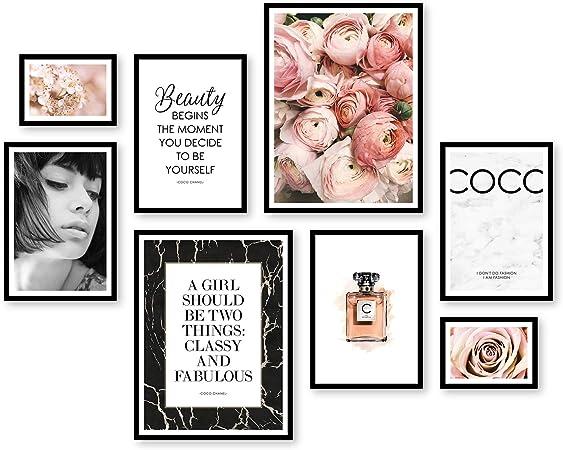 ARTFAVES Poster Set Coco | Deko Rose rosa | 8 Moderne Wandbilder Premium Mix | 30x40 21x30 13x18 | Bilder Wohnzimmer, Schlafzimmer | ohne Rahmen