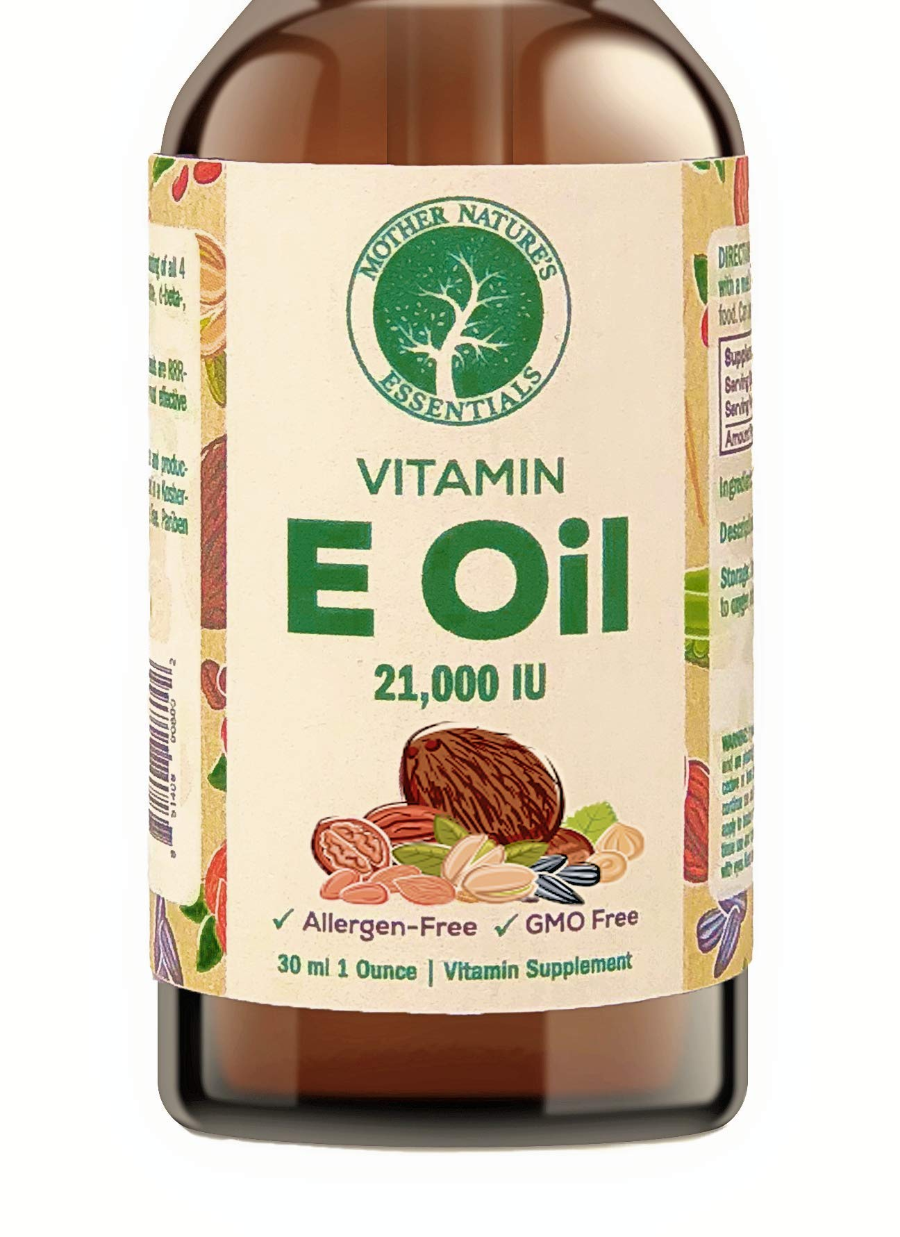 Pure Vitamin E Oil 21,000 IU, 100% Natural. Perfect for All Skin Types. Can be Used Daily to Protect and Hydrate The Skin. So Pure it can be Taken orally.