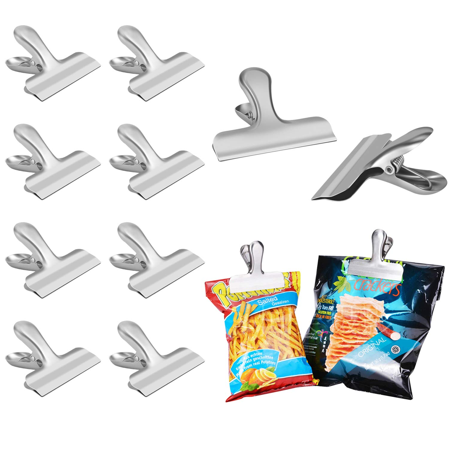 Chip Bag Clips set of 8 - LEYOSOV 3 Inches Wide Stainless Steel Heavy-duty Chip Clips, All-Purpose Air Tight Seal Grip Clips for Kitchen Office