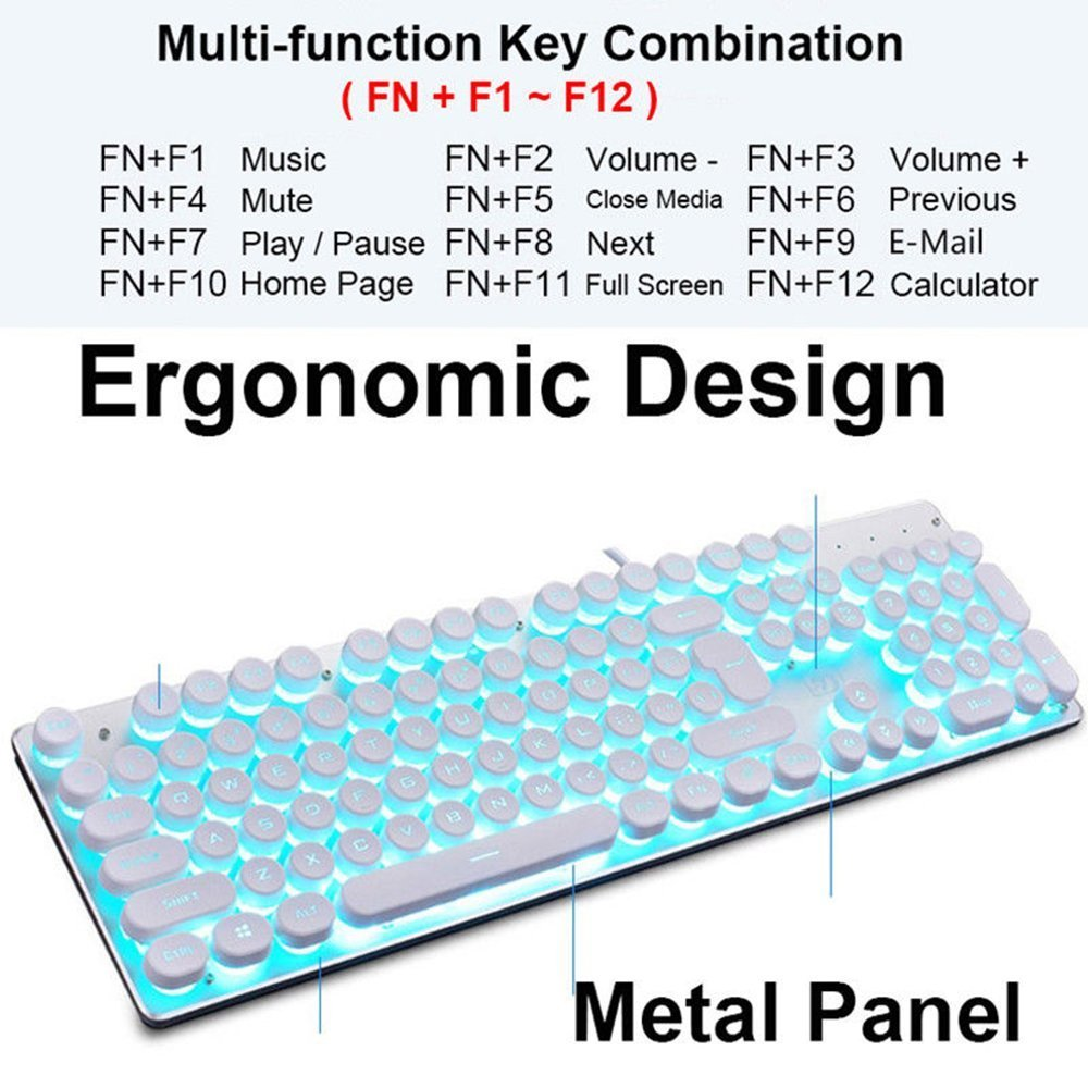 LexonElec Wired Gaming Keyboard K100 104 Keys LED Backlit Punk Keycap 26  Keys Without Conflict Waterproof Multimedia Ergonomic USB Metal Gamer  Keypad