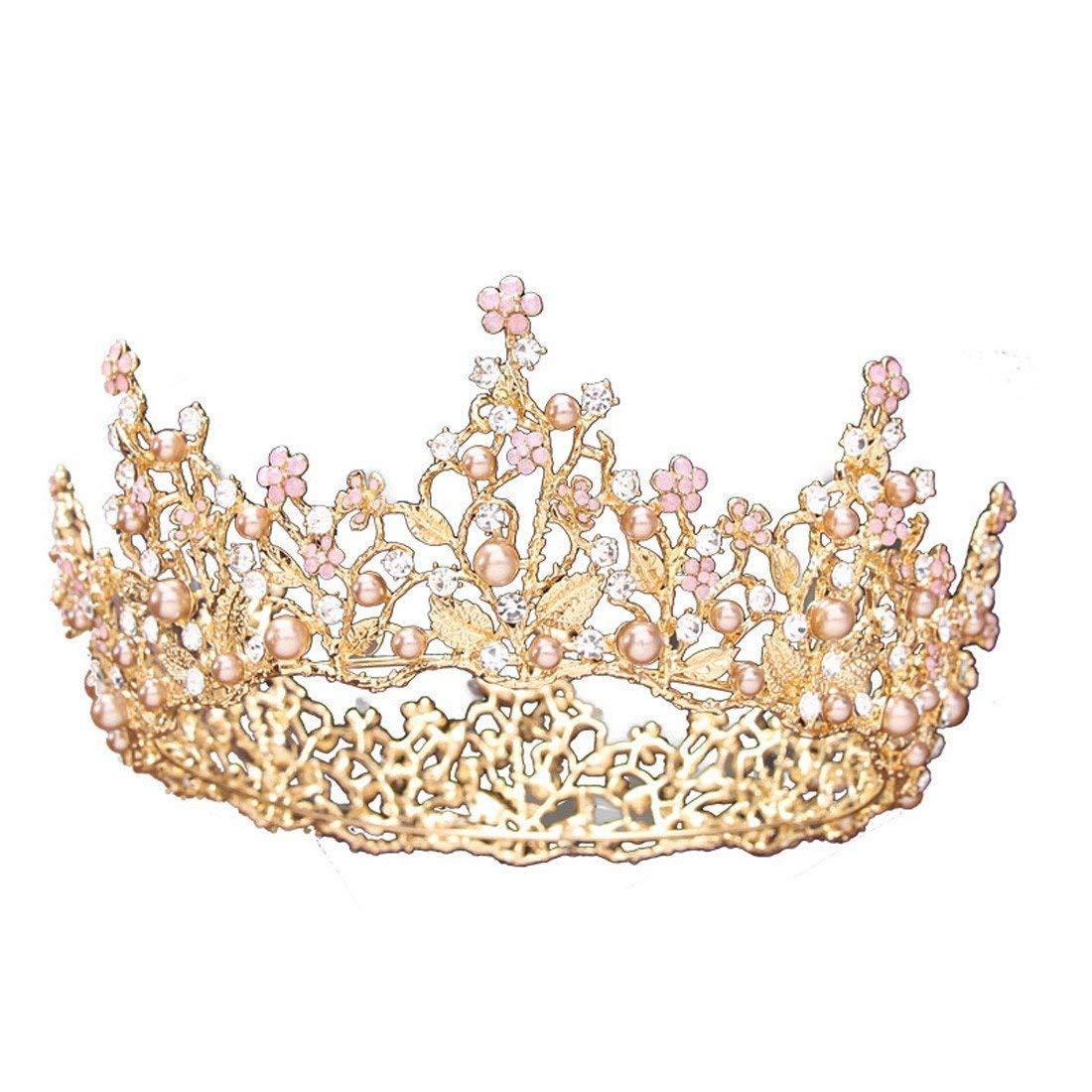 Crystal Crown, Round Crown Atmosphere Noble Queen Golden Crown Bride Wedding Headwear Wedding Dress Accessories.
