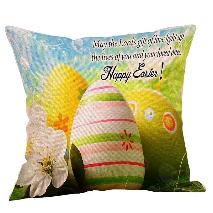 BBestseller Fundas de cojín de Lino Pascua,Super Suave Colorear Huevo Imprimiendo Cojines Sofa Almohadas IKEA Decorativo (N)
