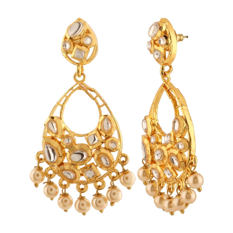 Efulgenz Indian Bollywood 14K Gold Plated Kundan Pearl Chandbali Chandelier Style Earrings Jewelry Set by Efulgenz (Image #2)