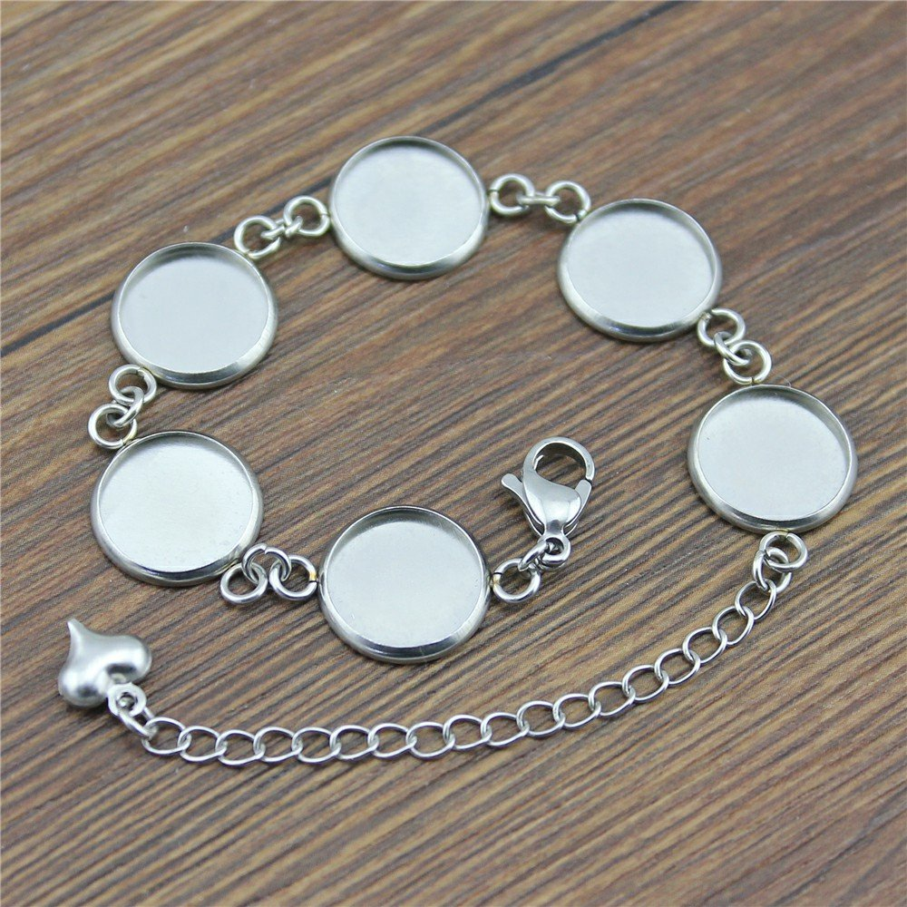 WYSIWYG 8 Pieces Chain Link Bracelet Women Classic Multiple Inner Size 12mm Round flatback resin cabochons Cameo Base Tray Bezel Blank WH505