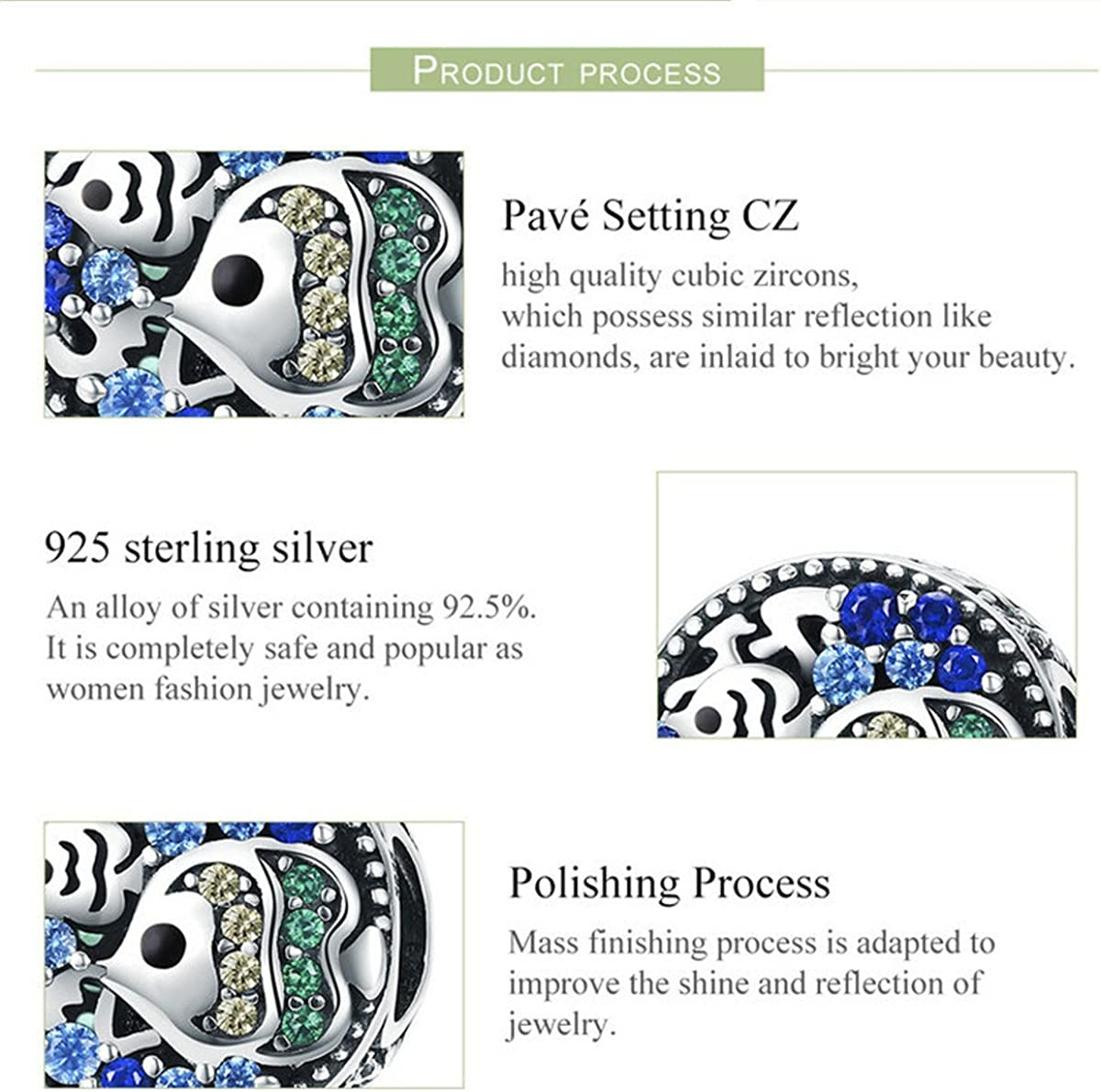 Inbeaut 100/% Argent sterling 925/Underwater Bleu CZ Bubble mignon petit poisson pour bracelet charm