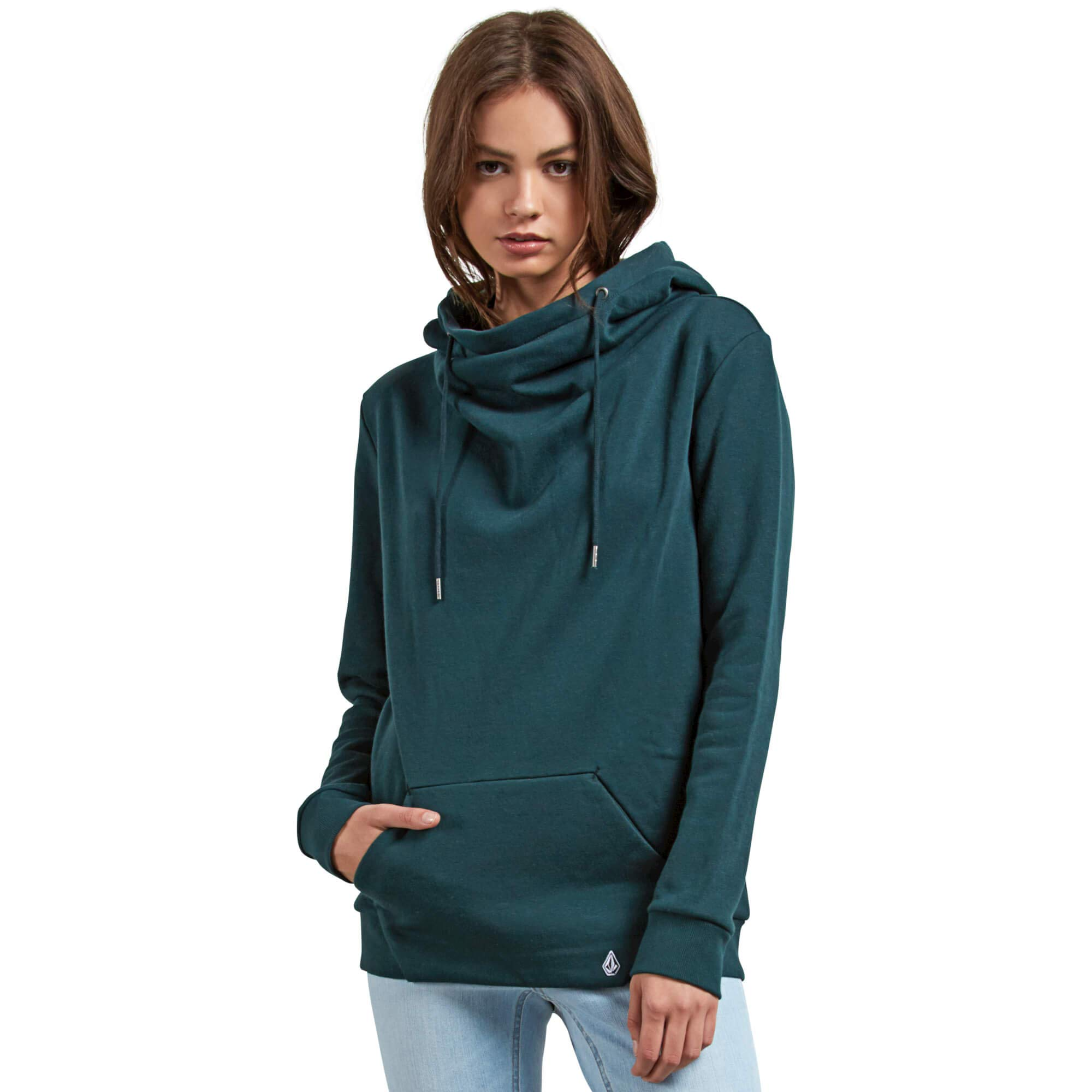 Volcom Junior's Walk on by High Neck Hooded Fleece Sweatshirt, Evergreen, Small