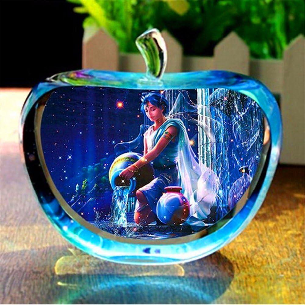 qianyue 12 Konstellation Klar Seltenes Kristallglas Apfel Modell Figuren Papiergewichte Natursteine und Mineralien Foto Kristalle f/ür Wohnkultur Fische