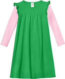 product image for City Threads Girls' Super Soft Cotton Long Sleeve Flutter Dress Made in USA