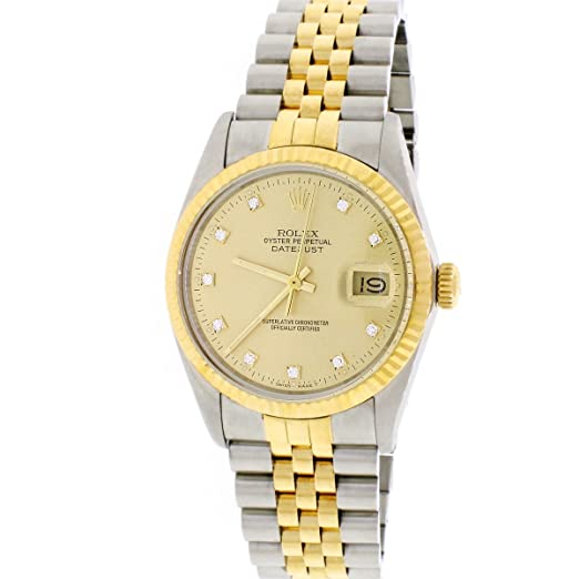 Rolex Datejust - Reloj de Pulsera para Hombre, Oro Amarillo de 18 Quilates y Acero