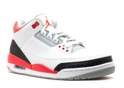 Air Jordan 3 Retro Men's Sneakers White/Fire Red-Silver-Black 136064-