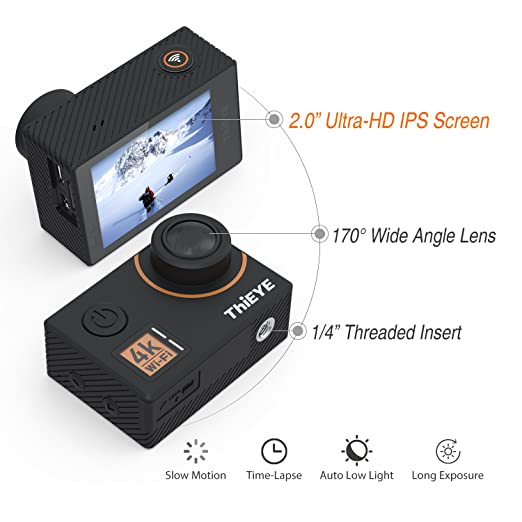 Amazon.com : ThiEYE Action Camera Native 4K 20MP Ultra HD ...
