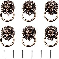 6-pak gałek do drzwi klamka szafka szafka szuflada metalowy pierścień do ciągnięcia antyczne główka lwa, pierścień do…