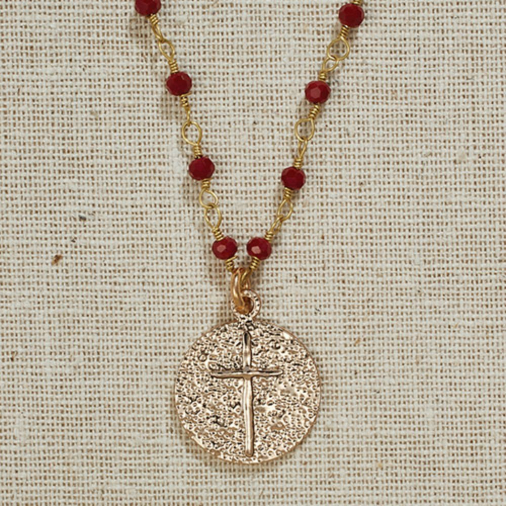 Set of 3 Vintage Blessings II. Gold Cross Necklace on Deep Red Beaded Chain by AT001