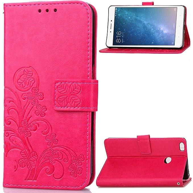 Carcasa para Funda Xiaomi Mi MAX 2 Carcasa, Cartera Flip Funda Caja de Cuero de la PU Carcasa con Tapa Flip Case TPU Funda (Hot-Pink). RF10