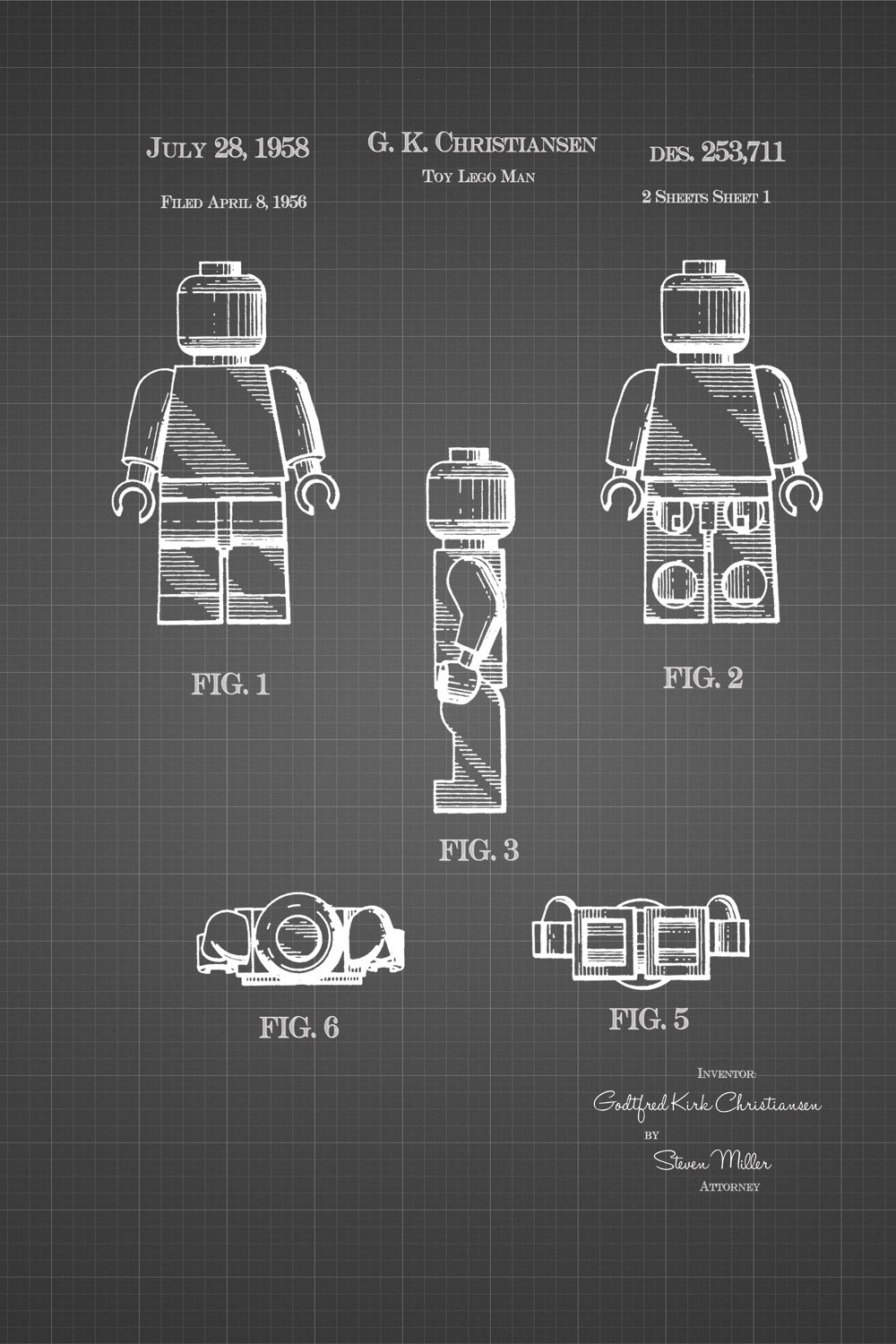 JP London Heavyweight Legoman Toy Prepasted Removable Vintage Black Grid Poster Patent Art at 36 in by 24 in SPMURJSGLT11
