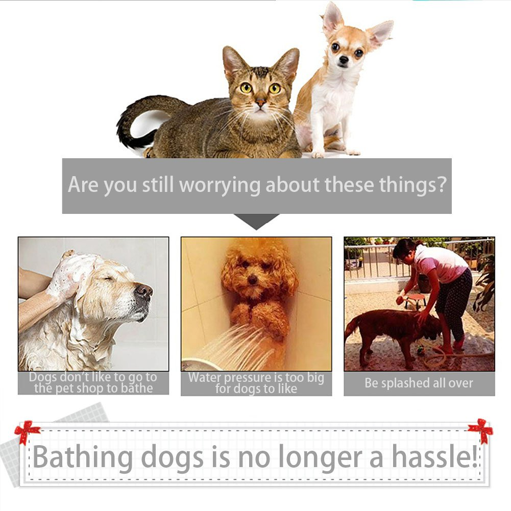 Dog Shower Sprayer with Silicone Massage Bath Brush Multi-Functional Grooming wash Tool