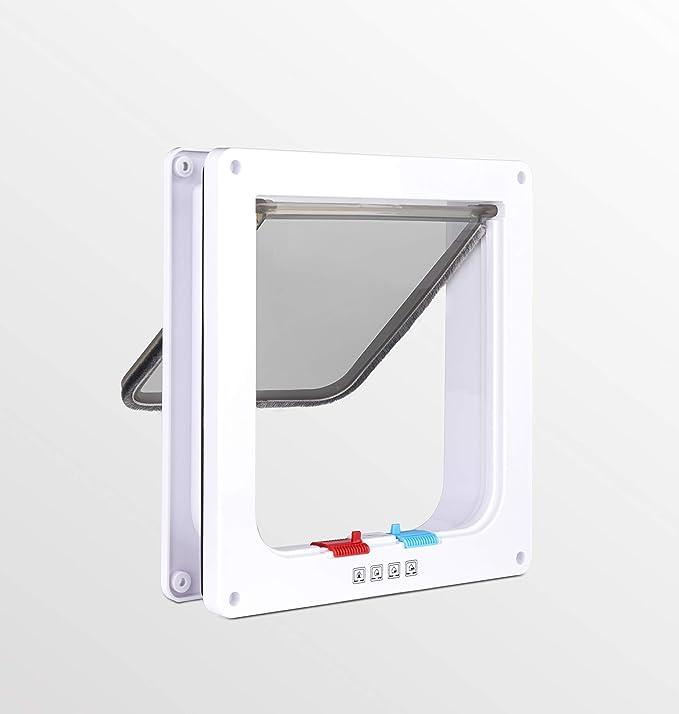 Amazon.com : Qicai Phoenix Medium Cat Flap Door with 4 Way Lock Magnetic Pet Door Kit White, Weather-Resistant Cat Door for Cats & Doggy (L, White) (L) : Pet Supplies