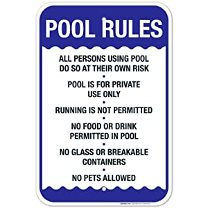 Pool Rules Sign, No Food or Drinks Pool Sign, 12x18 Inches, Rust Free .063 Aluminum, Fade Resistant, Indoor/Outdoor Use, Made in USA by Sigo Signs