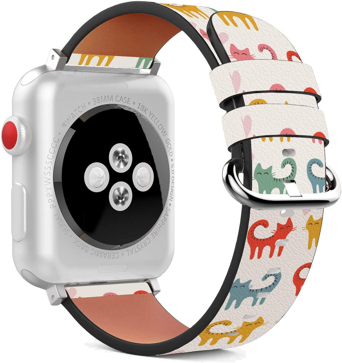 Compatible with Apple Watch - 38mm / 40mm (Serie 5,4,3,2,1) Leather Wristband Bracelet with Stainless Steel Clasp and Adapters - Curly Tail Cats