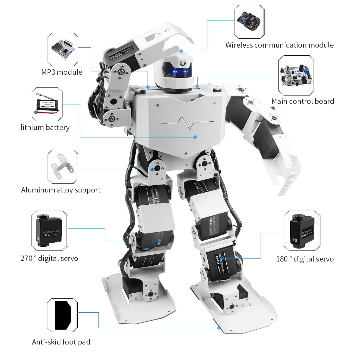 Hiwonder H3S 16DOF Biped Humanoid Robot Kit with Free APP, MP3 Module, Detailed Video Tutorial Support Sing Dance(Assembled) by LewanSoul (Image #2)