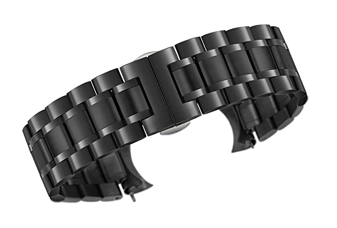 e9137442e8decf 20mm Luxury Metal Watch Straps Solid Black Stainless Steel Heavy Type with  Both Curved and Straight