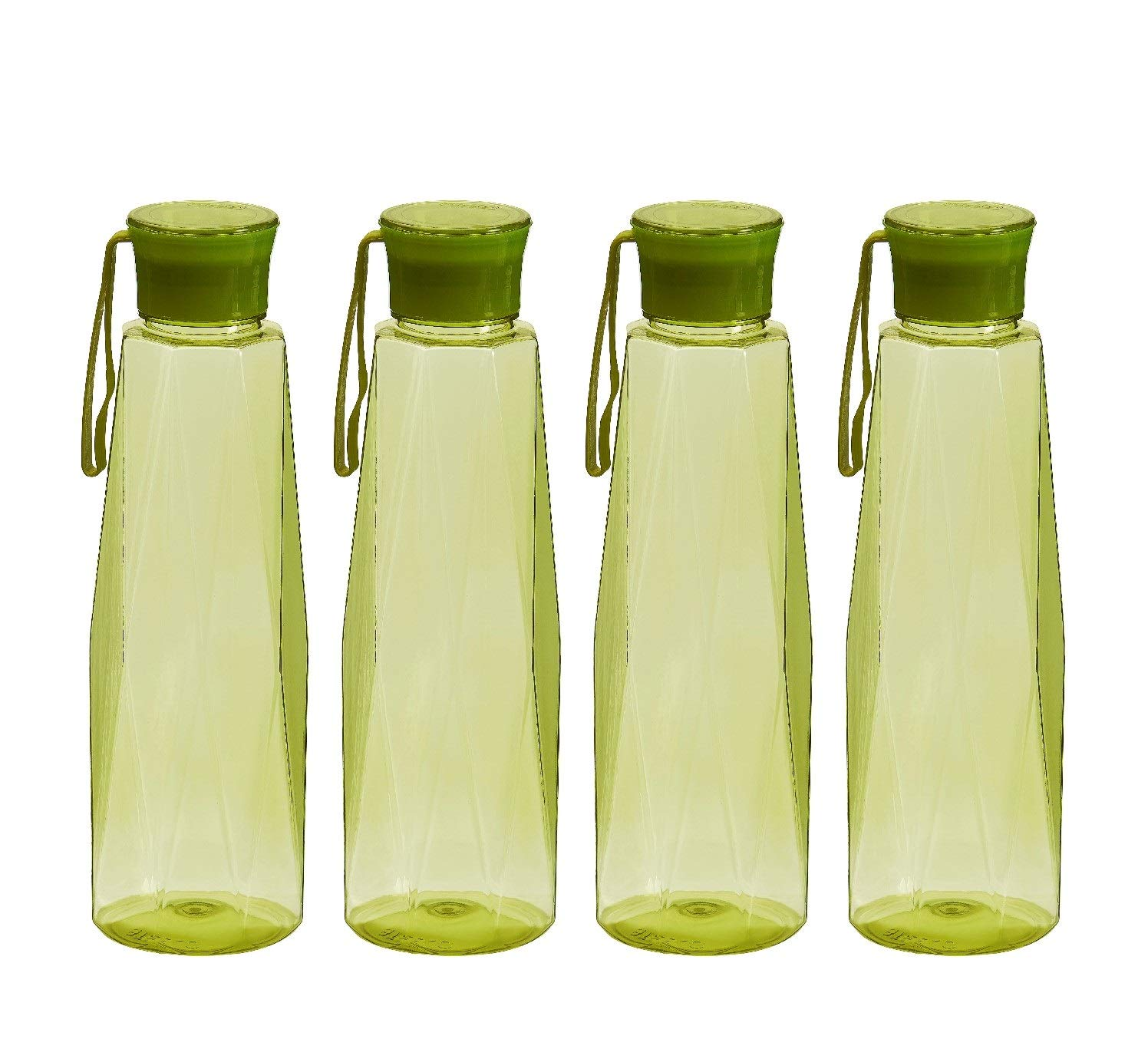 Steelo Seagul Plastic Water Bottle, 1 Litre, Set of 4, Olive Green