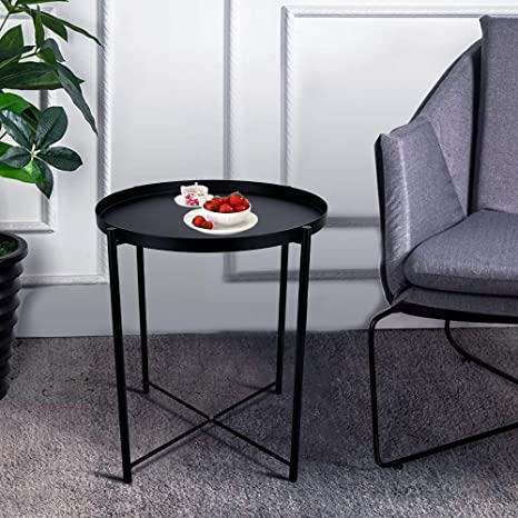 Amazon Com Round Metal Side Table 20 Tall Reversible Tray
