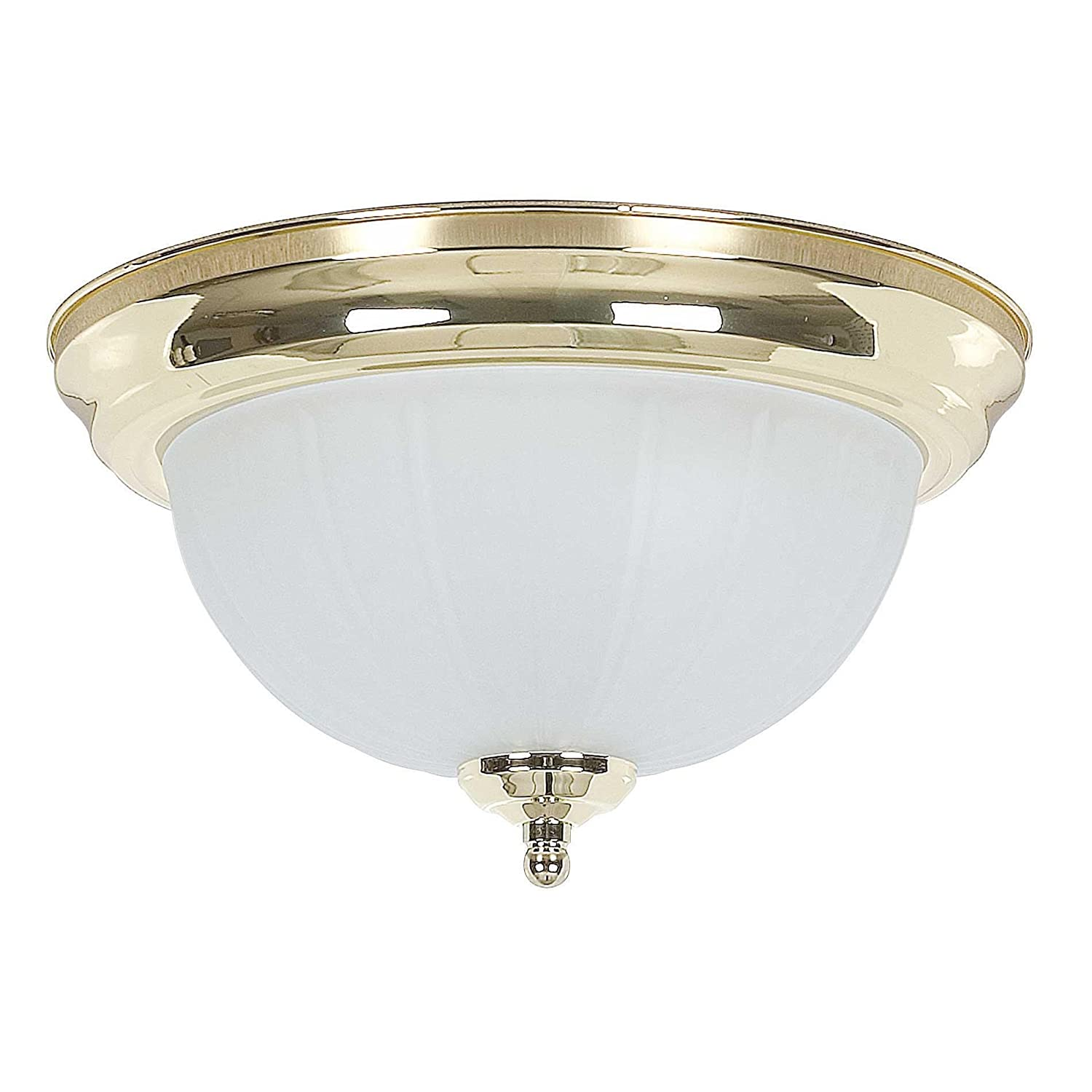 Sunset Lighting F7116-10 Flush Mount with Frosted Melon Glass Polished Brass Finish