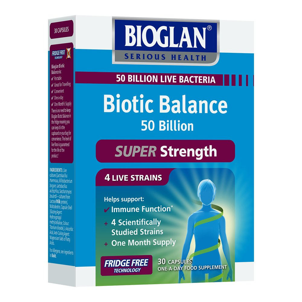 Bioglan Biotic Balance 50 Billion Cfu With Vitamin C For Digestive Health And Immune Support Super Strength 4 Live Strains Fridge Free One Month Supply