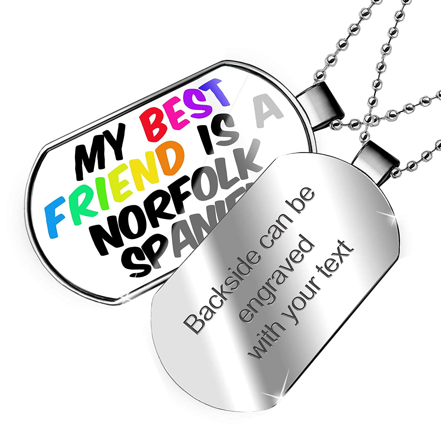 NEONBLOND Personalized Name Engraved My Best Friend a Norfolk Spaniel Dog from United Kingdom Dogtag Necklace