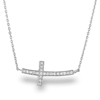Sterling Silver Rhodium-plated CZ Latin Cross Pendant