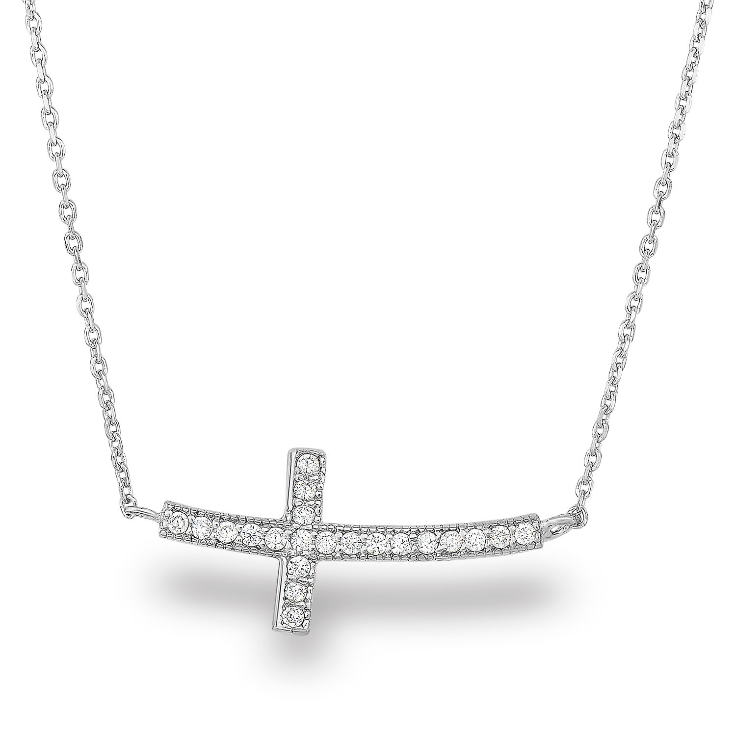 Rhodium Plated Sterling Silver Cubic Zirconia Curved Sideways Cross Chain Necklace,18''