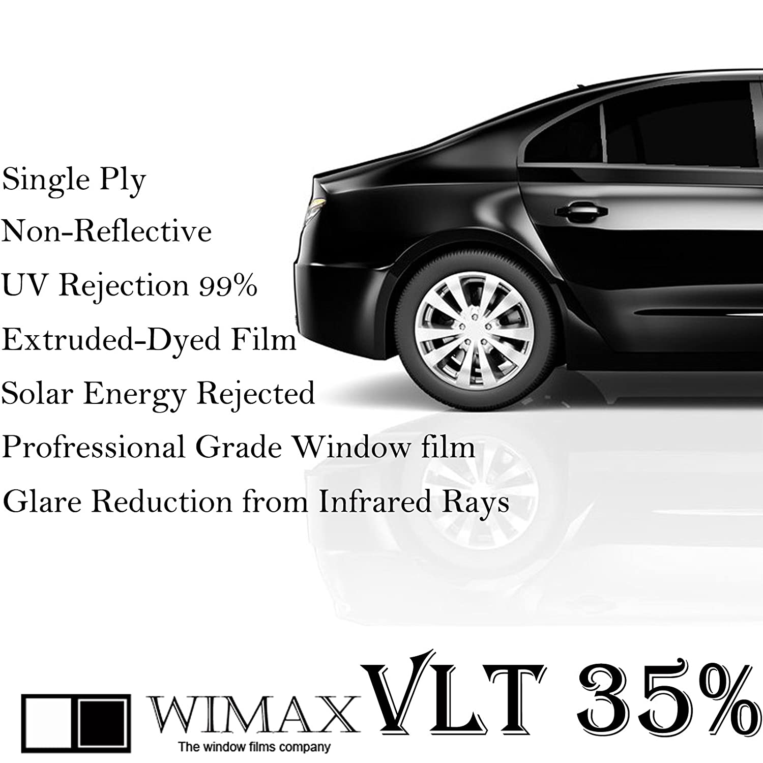 Wimax Smoke 35% VLT 30 In x 25 Ft (30 x 300 Inch) Feet Uncut Roll Window Tint Film Auto Car Home