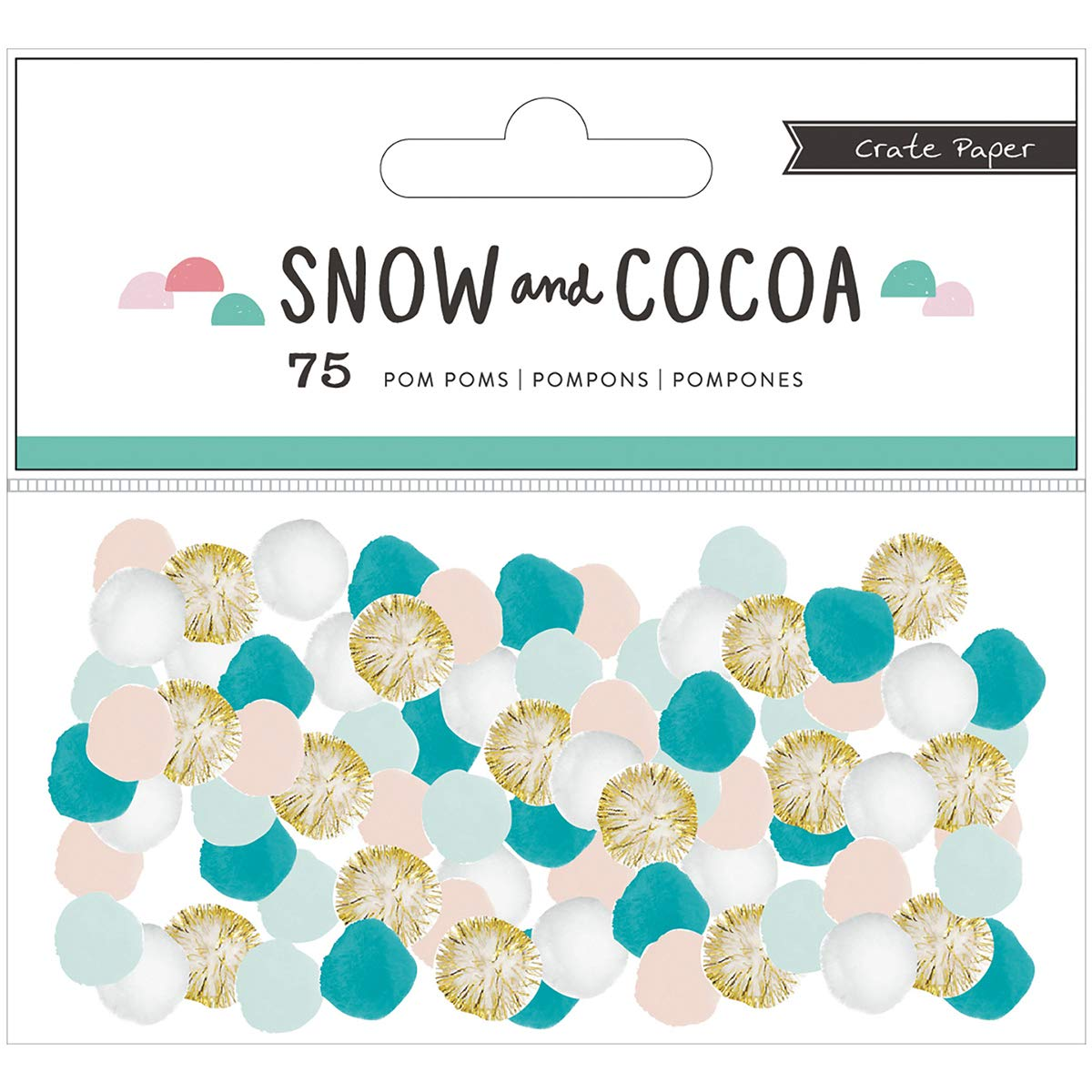 Crate Paper Snow and Cocoa Collection Pom Poms (8 Pack)