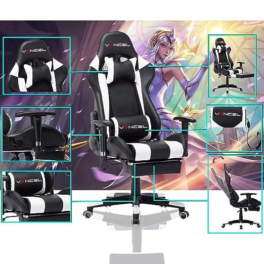 EAVANCEL Silla Gaming Sillones de Oficina Reclinable Ergonomica con Reposapiés Retráctil con Masaje Lumbar para Gamer (Blanco)