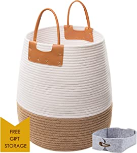 "Large Rope Storage Basket, 17x17""Decorative Blanket Jute Cotton Basket Tall Woven Laundry Basket for Living Room, Toys Storage, Round White Laundry Hamper with Handles, Use for Toys, Towels or Nursery"