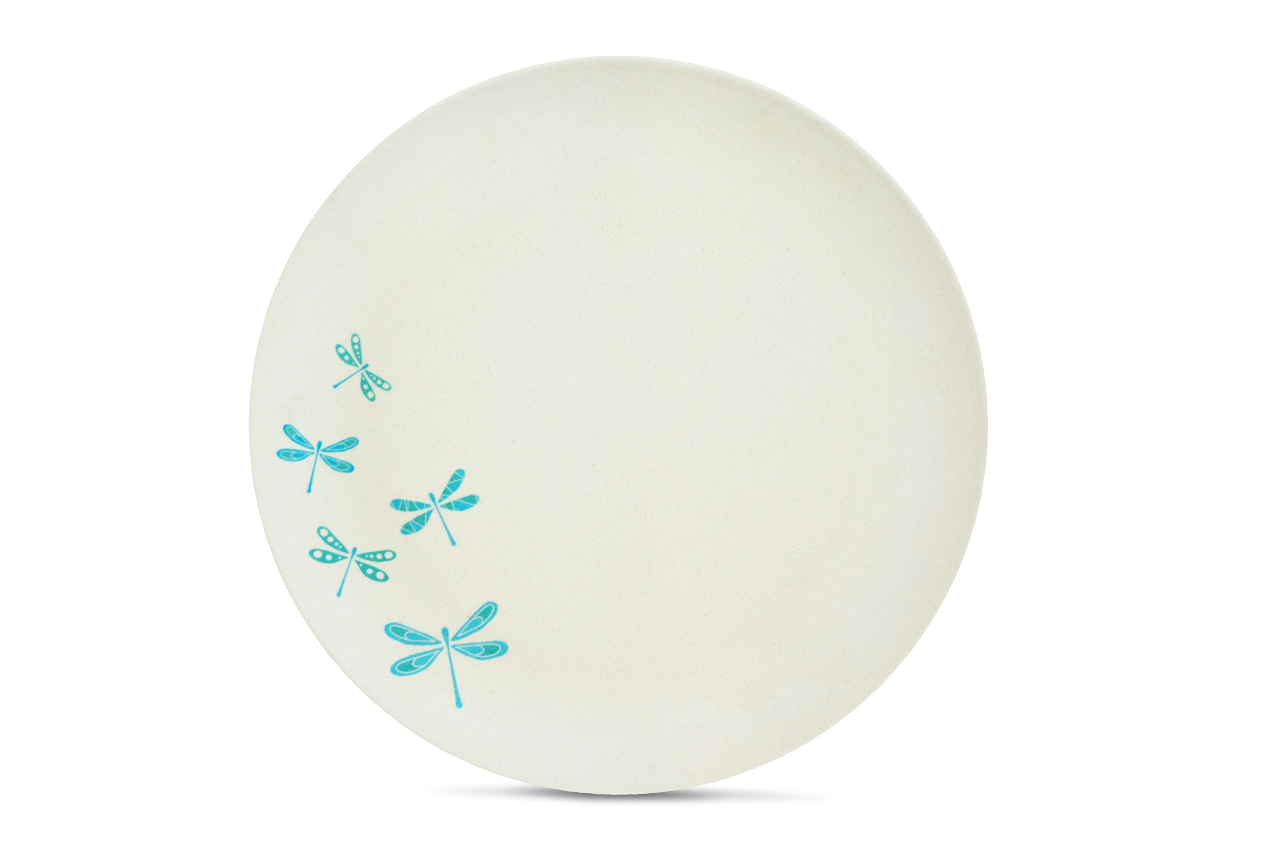 Aquaterra Living Ecofriendly Dinner Plate Set with Dragonfly Designs- Set of 6, 10'' indoor or outdoor plates