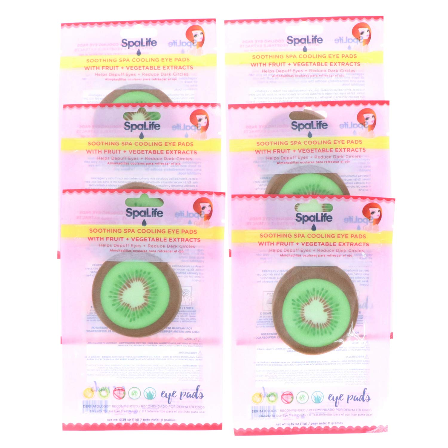 SpaLife Korean Soothing Spa Cooling Eye Pads - 48 Pads - With Fruit + Vegetable Extracts - Depuff Eyes + Reduce Dark Circles (Kiwi)