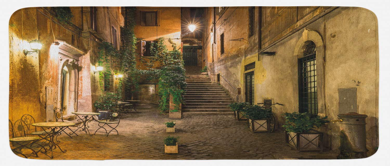 Ambesonne Italian Kitchen Mat, Old Courtyard Rome Italy Cafe Chairs City Historic Houses in Street, Plush Decorative Kithcen Mat with Non Slip Backing, 47 W X 19 L Inches, Pale Yellow Green Orange