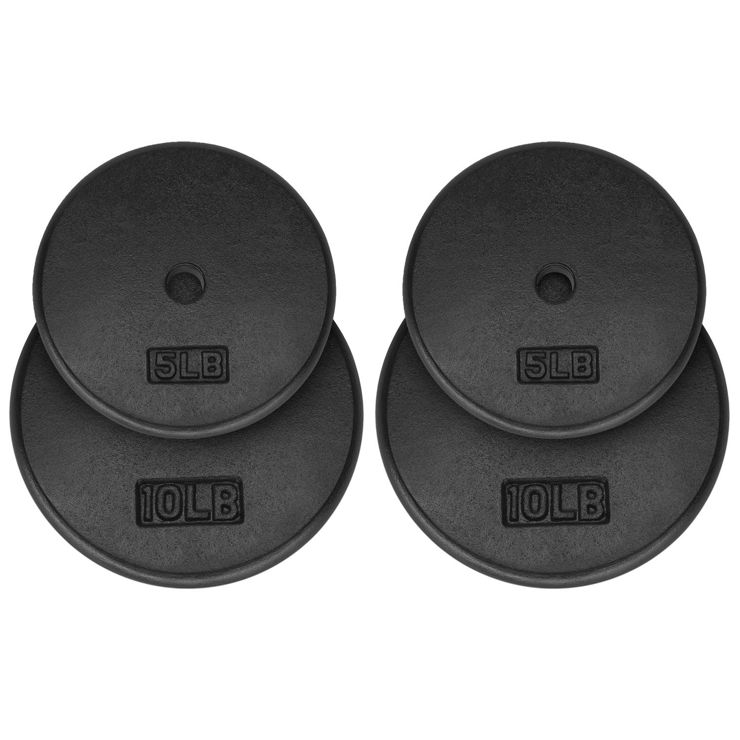 Yes4All 1-inch Cast Iron Weight Plates for Dumbbells – Standard Weight Plates (Combo 5lb x 2pcs + 10lb x 2pcs)