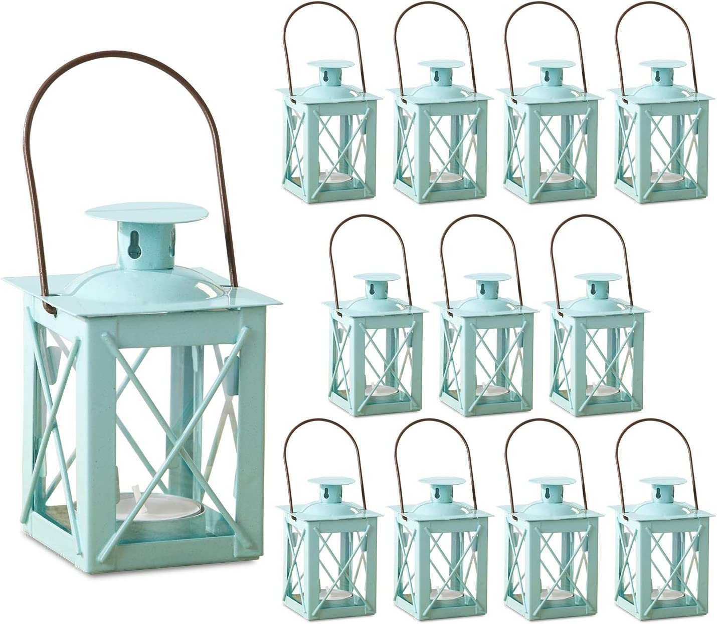 Kate Aspen Decorative Lanterns - Set of 12 - Luminous Metal Lantern Tealight Candle Holders for Wedding, Home Decor and Party - 4.5