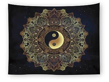 Amazon.com: Magiböes Yin Yang Tapiz indio Mandala Floral ...