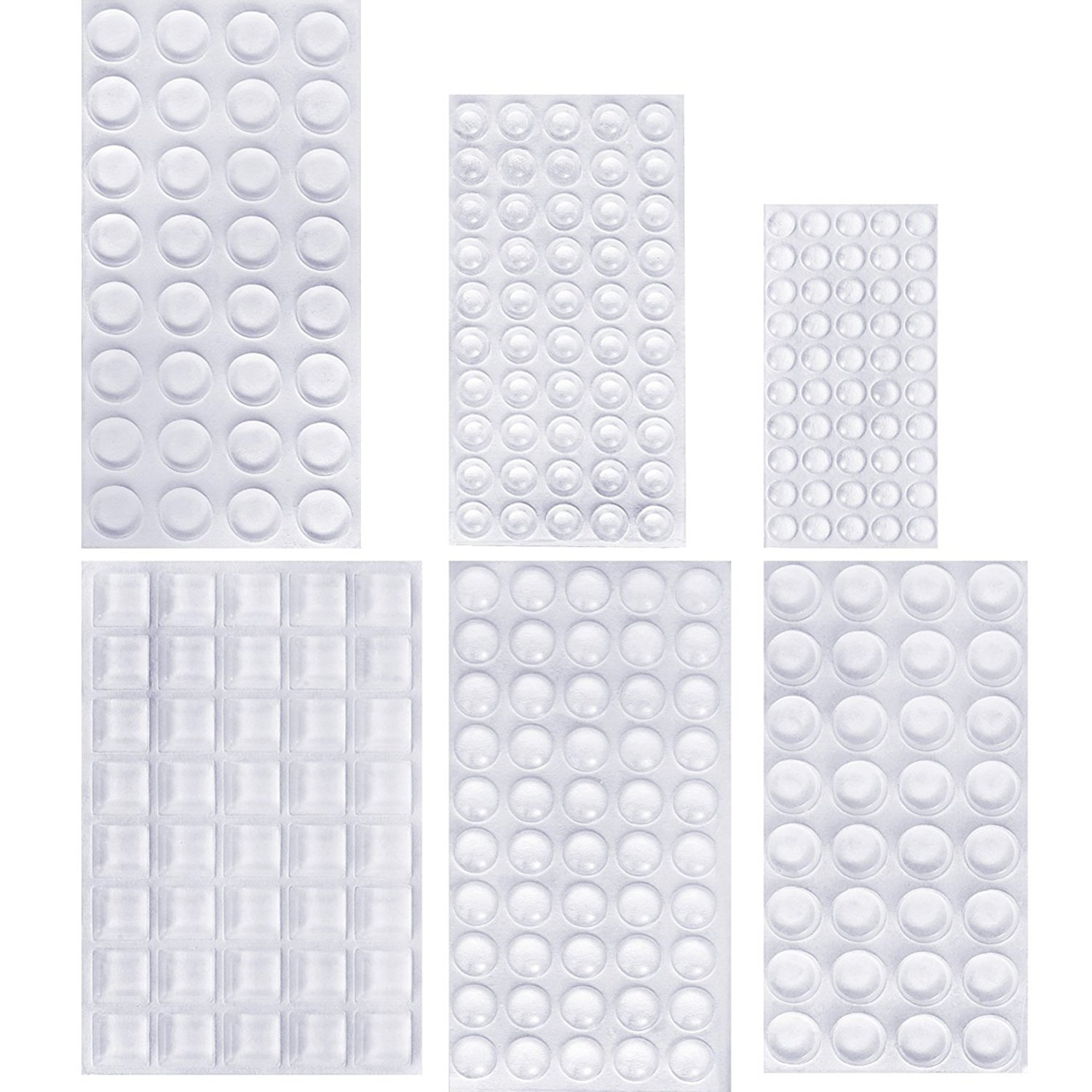 254 Pieces Clear Rubber Feet Bumper Pads Adhesive Transparent Buffer Pads Cabinet Door Bumpers Self Stick Noise Dampening Pads, 6 Sizes Outus