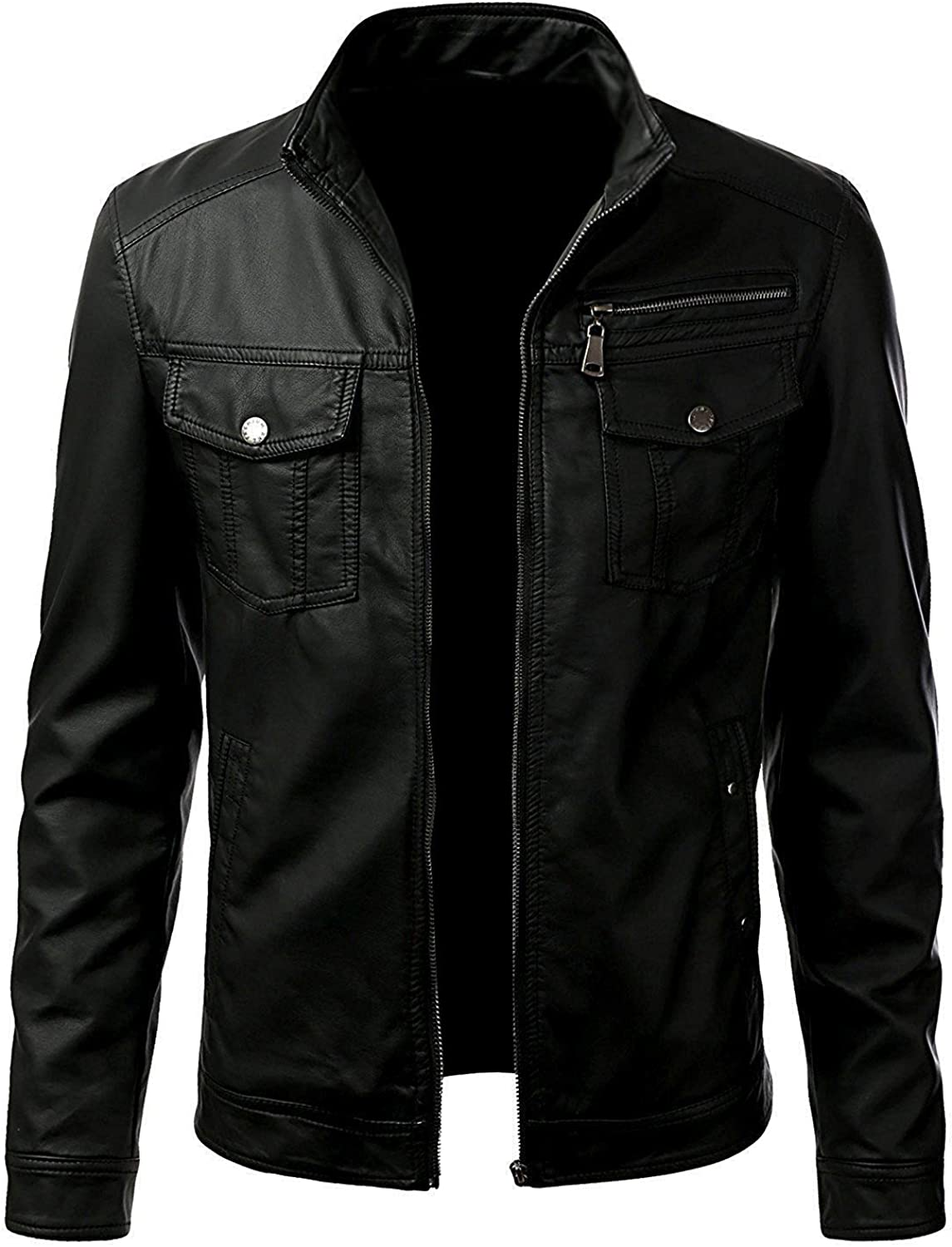 Trendz/&ideas Sleek Black Leather Jacket for Men